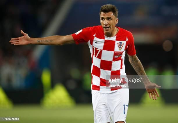 Mario Mandzukic of Croatia gives instructions during the 2018 FIFA World Cup Russia group D match between Croatia and Nigeria at Kaliningrad Stadium...