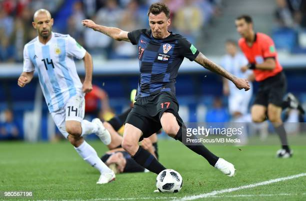 Mario Mandzukic of Croatia in action during the 2018 FIFA World Cup Russia group D match between Argentina and Croatia at Nizhny Novgorod Stadium on...