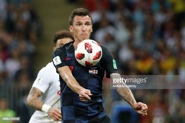 Mario Mandzukic of Croatia in action during the 2018 FIFA World Cup Russia semi final match between Croatia and England at the Luzhniki Stadium in...