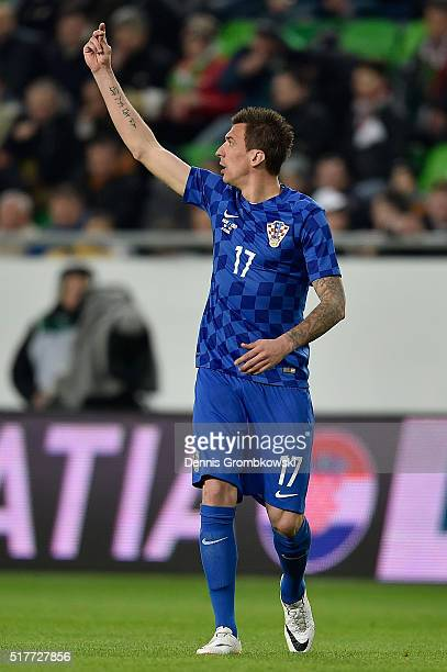 Mario Mandzukic of Croatia in action during the International Friendly match between Hungary and Croatia at Groupama Arena on March 26 2016 in...
