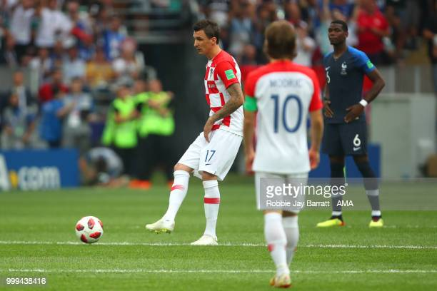 Mario Mandzukic of Croatia kicks off the match during the 2018 FIFA World Cup Russia Final between France and Croatia at Luzhniki Stadium on July 15...