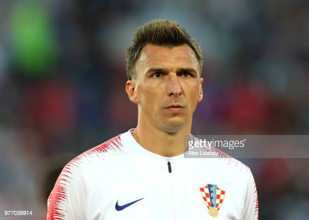 Mario Mandzukic of Croatia lines up prior to the 2018 FIFA World Cup Russia group D match between Croatia and Nigeria at Kaliningrad Stadium on June...