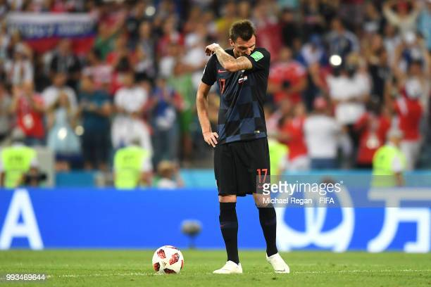 Mario Mandzukic of Croatia looks dejected following Russia's first goal during the 2018 FIFA World Cup Russia Quarter Final match between Russia and...