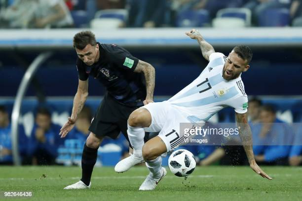 Mario Mandzukic of Croatia Nicolas Otamendi of Argentina during the 2018 FIFA World Cup Russia group D match between Argentina and Croatia at the...
