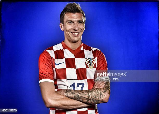 Mario Mandzukic of Croatia poses during the official Fifa World Cup 2014 portrait session on June 5 2014 in Salvador Brazil