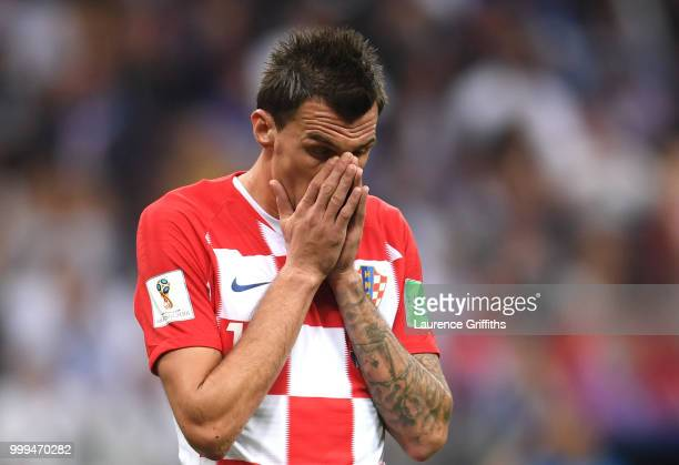 Mario Mandzukic of Croatia reacts during the 2018 FIFA World Cup Final between France and Croatia at Luzhniki Stadium on July 15, 2018 in Moscow,...