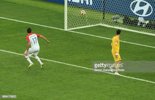Mario Mandzukic of Croatia scores a goal after a mistake by France goalkeeper Hugo Lloris during the 2018 FIFA World Cup Russia Final between France...