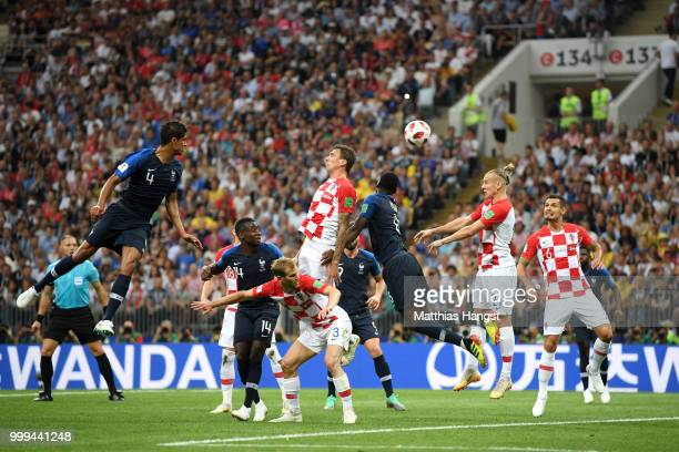 Mario Mandzukic of Croatia scores an own goal for France's first goal during the 2018 FIFA World Cup Final between France and Croatia at Luzhniki...