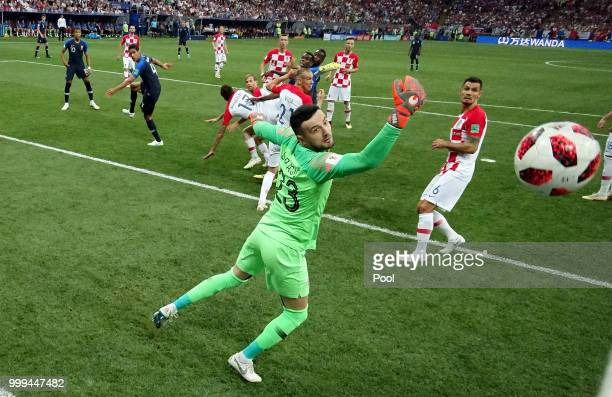Mario Mandzukic of Croatia scores an own goal from Antoine Griezmann of France's freekick for France's first goal during the 2018 FIFA World Cup...