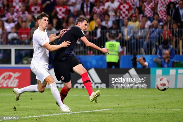 Mario Mandzukic of Croatia scores his sides second goal during the 2018 FIFA World Cup Russia Semi Final match between England and Croatia at...
