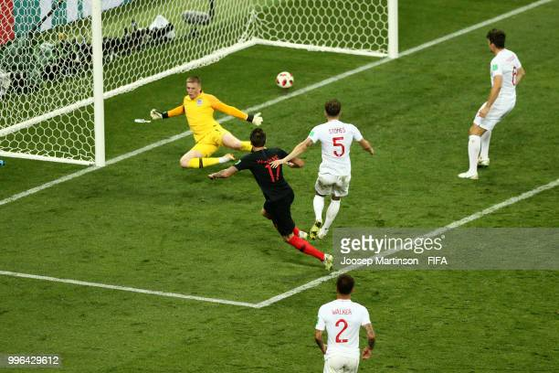 Mario Mandzukic of Croatia scores his team's second goal during the 2018 FIFA World Cup Russia Semi Final match between England and Croatia at...