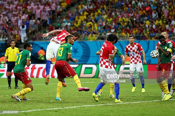Mario Mandzukic of Croatia scores his team's third goal on a header during the 2014 FIFA World Cup Brazil Group A match between Cameroon and Croatia...