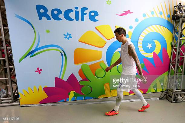 Mario Mandzukic of Croatia walks in the tunnel to the dressing room after the 13 defeat in the 2014 FIFA World Cup Brazil Group A match between...
