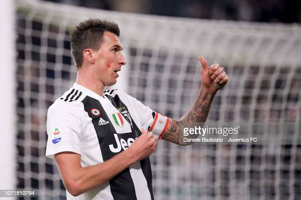 Mario Mandzukic of juventus celebrates after scoring his sides second goal during the Serie A match between Juventus and SPAL at Allianz Stadium on...