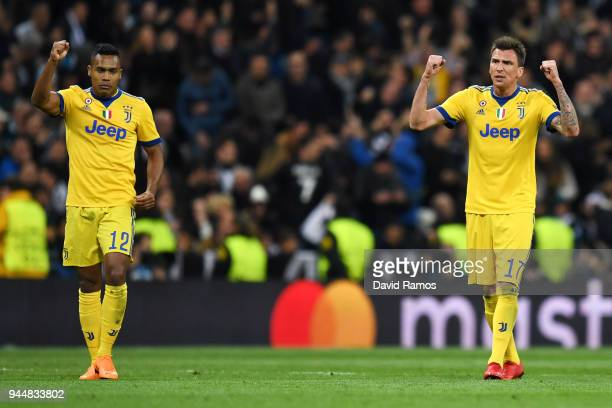 Mario Mandzukic of Juventus celebrates after scoring his sides second goal during the UEFA Champions League Quarter Final Second Leg match between...