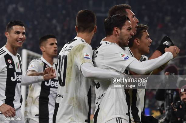 Mario Mandzukic of Juventus celebrates after scoring the opening goal during the Serie A match between Juventus and FC Internazionale at Allianz...