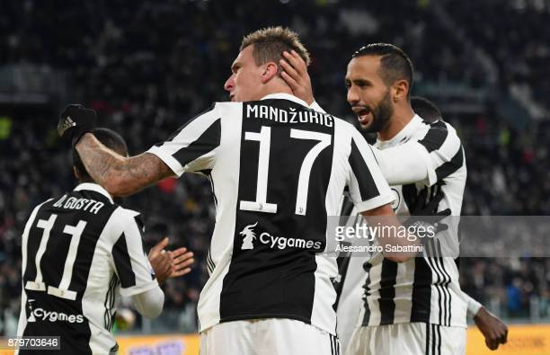 Mario Mandzukic of Juventus celebrates after scoring the opening goal during the Serie A match between Juventus and FC Crotone at Allianz Stadium on...