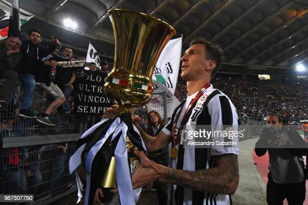 Mario Mandzukic of Juventus celebrates the victory after the TIM Cup Final between Juventus and AC Milan at Stadio Olimpico on May 9 2018 in Rome...