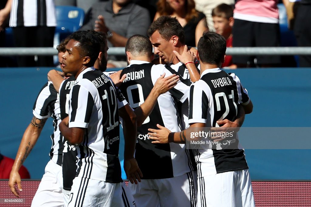 Mario Mandzukic #17 of Juventus celebrates with teammates after scoring against Roma during the International Champions Cup 2017 match at Gillette Stadium on July 30, 2017 in Foxboro, Massachusetts.