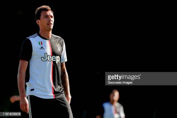 Mario Mandzukic of Juventus during the match between Juventus v Juventus U19 at the Villar Perosa Stadium on August 14, 2019 in Villar Perosa Italy
