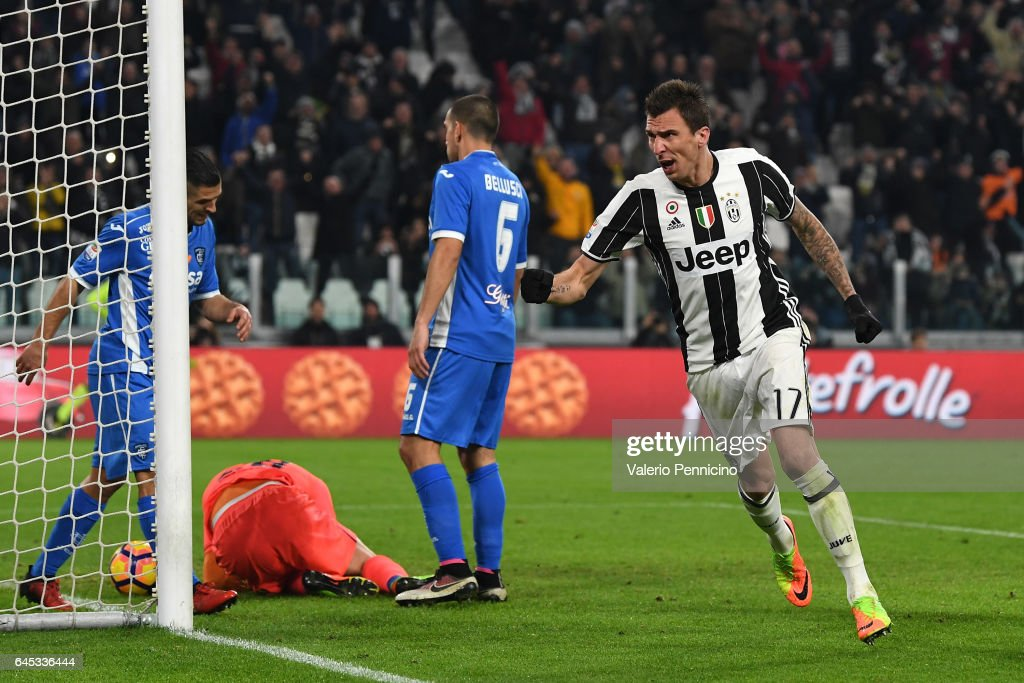 Mario Mandzukic of Juventus FC celebrates after scoring the opening goal during the Serie A match between Juventus FC and Empoli FC at Juventus Stadium on February 25, 2017 in Turin, Italy.