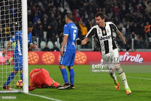 Mario Mandzukic of Juventus FC celebrates after scoring the opening goal during the Serie A match between Juventus FC and Empoli FC at Juventus...