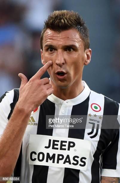 Mario Mandzukic of Juventus FC gestures during the Serie A match between Juventus and Cagliari Calcio at Allianz Stadium on August 19 2017 in Turin...