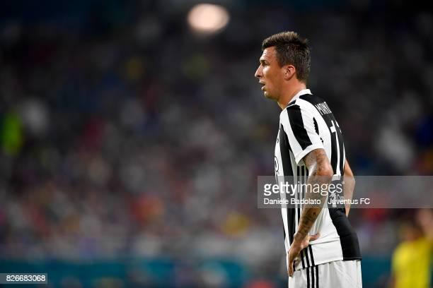 Mario Mandzukic of Juventus in action during the International Champions Cup 2017 match between Paris Saint Germain and Juventus at Hard Rock Stadium...