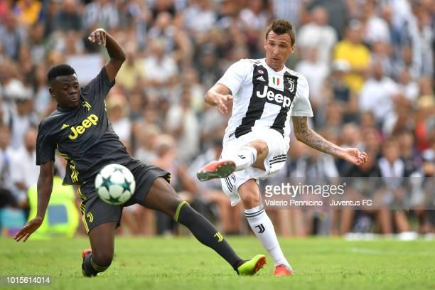 Mario Mandzukic of Juventus in action during the PreSeason Friendly match between Juventus and Juventus U19 on August 12 2018 in Villar Perosa Italy