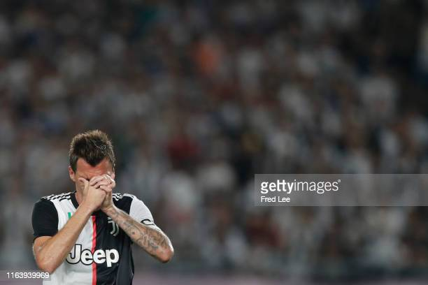 Mario Mandzukic of Juventus reacts during the International Champions Cup match between Juventus and FC Internazionale at the Nanjing Olympic Center...
