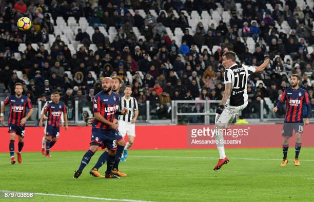 Mario Mandzukic of Juventus scores the opening goal during the Serie A match between Juventus and FC Crotone at Allianz Stadium on November 26 2017...