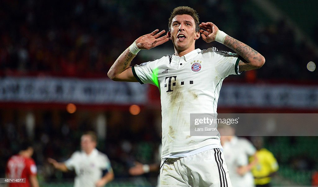 Mario Mandzukic of Muenchen celebrates atfer scoring his teams first goal during the FIFA Cub World Cup semifinal match between Guangzhou Evergrande and Bayern Muenchen at Agadir Stadium on December 17, 2013 in Agadir, Morocco.