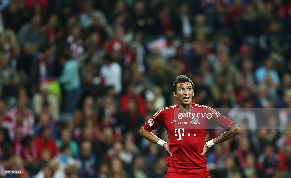 Mario Mandzukic of Muenchen looks on during the Bundesliga match between FC Bayern Muenchen and VfL Wolfsburg at Allianz Arena on September 25, 2012 in Munich, Germany.