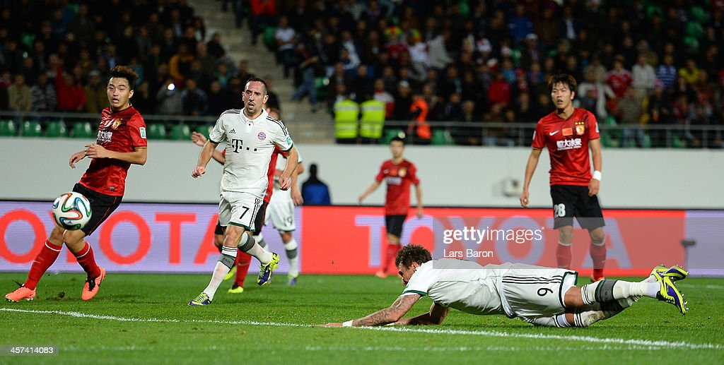 Mario Mandzukic of Muenchen scores his teams second goal during the FIFA Cub World Cup semifinal match between Guangzhou Evergrande and Bayern Muenchen at Agadir Stadium on December 17, 2013 in Agadir, Morocco.