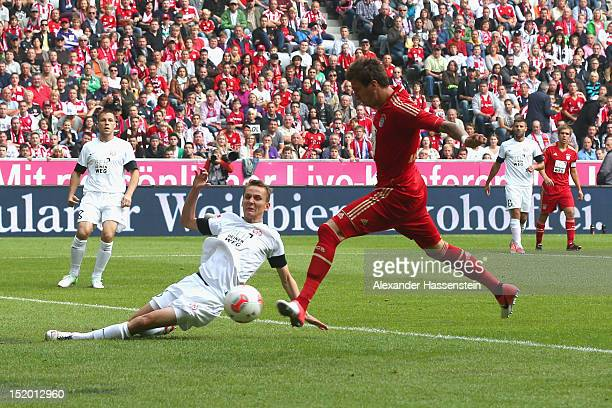 Mario Mandzukic of Muenchen scores the opening goal during the Bundesliga match between FC Bayern Muenchen and 1 FSV Mainz 05 at Allianz Arena on...