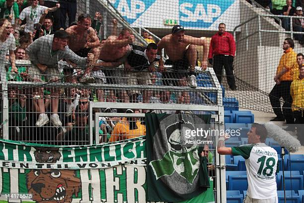 Mario Mandzukic of Wolfsburg celebrates his team's second goal during the Bundesliga match between 1899 Hoffenheim and VfL Wolfsburg at RheinNeckar...