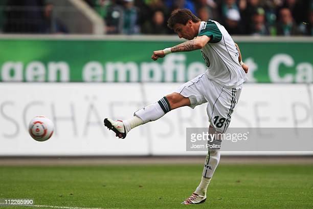 Mario Mandzukic of Wolfsburg scores his team's first goal during the Bundesliga match between VfL Wolfsburg and FC St. Pauli at Volkswagen Arena on...