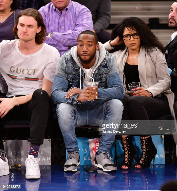 Mario Manningham attends New York Knicks vs Detroit Pistons game at Madison Square Garden on March 31 2018 in New York City