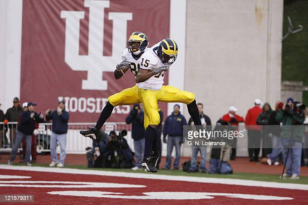 Mario Manningham celebrates with Steve Breaston after Breaston scored on a 62yard reception during action between the Michigan Wolverines and Indiana...