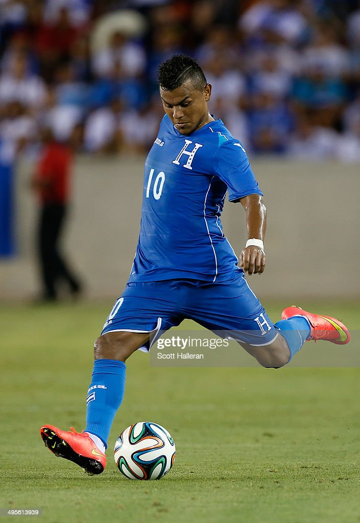 Mario Martinez #10 of Honduras in action during their Road to Brazil match against Isreal at BBVA Compass Stadium on June 1, 2014 in Houston, Texas.
