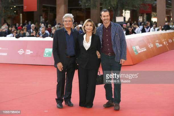 Mario Martone Anna Bonaiuto and Andrea Occhipinti walk the red carpet ahead of the 'L'Amore Molesto' screening during the 13th Rome Film Fest at...