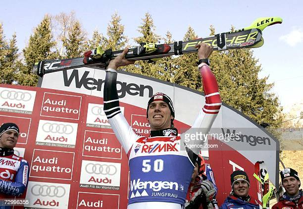 Mario Matt of Austria celebrates his first place finish during the FIS Skiing World Cup Men's Super Combined on January 14 2007 in Wengen Switzerland