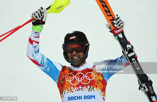 Mario Matt of Austria celebrates winning gold after finishing the second run during the Men's Slalom during day 15 of the Sochi 2014 Winter Olympics...