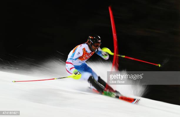 Mario Matt of Austria in action in the second run during the Men's Slalom during day 15 of the Sochi 2014 Winter Olympics at Rosa Khutor Alpine...