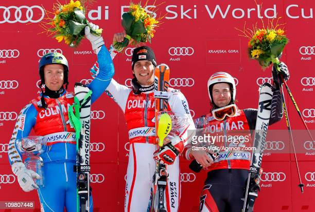 Mario Matt of Austria takes 1st Nolan Kasper of the USA and Axel Baeck of Sweden takes 2nd place during the Audi FIS Alpine Ski World Cup Men's...