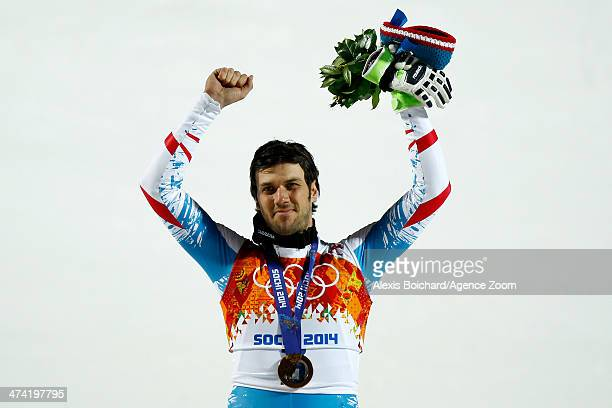 Mario Matt of Austria wins the gold medal during the Alpine Skiing Men's Slalom at the Sochi 2014 Winter Olympic Games at Rosa Khutor Alpine Centre...