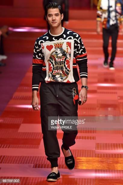 Mario Maurer walks the runway at the Dolce Gabbana show during Milan Men's Fashion Week Spring/Summer 2018 on June 17 2017 in Milan Italy