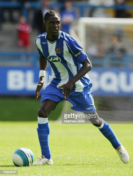 Mario Melchiot of Wigan Athletic in action during the PreSeason Friendly match between Halifax Town and Wigan Athletic at The Shay on July 28 2007 in...