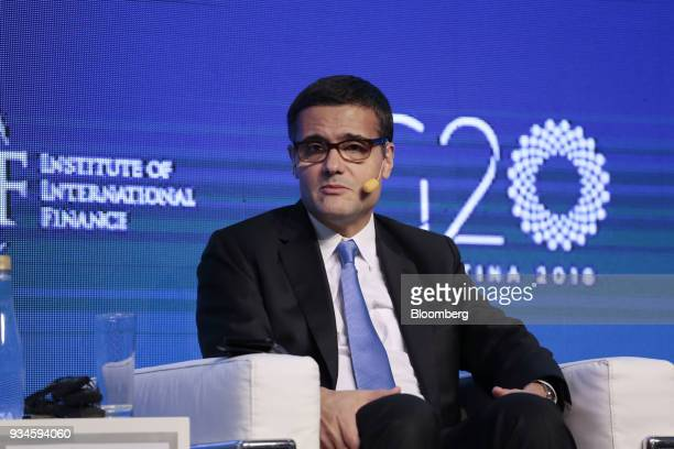 Mario Mesquita chief economist of Itau Unibanco SA listens during the Institute of International Finance G20 Conference in Buenos Aires Argentina on...