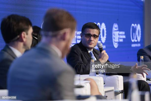 Mario Mesquita chief economist of Itau Unibanco SA speaks during the Institute of International Finance G20 Conference in Buenos Aires Argentina on...